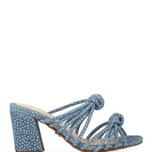 Cecelia New York Harper Blue Knotted Suede Mule